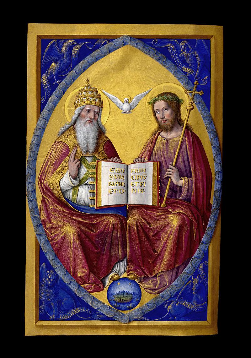 La Sainte Trinité, miniature des Grandes Heures d'Anne de Bretagne illustrées par Jean Bourdichon